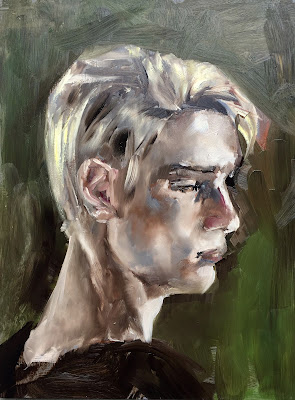 Portrait of a sixteen year old boy in oil on panel, by Philine van der Vegte
