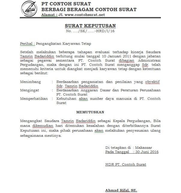 Download Contoh Surat Keputusan (SK) Pengankatan Pegawai Tetap Perusahaan