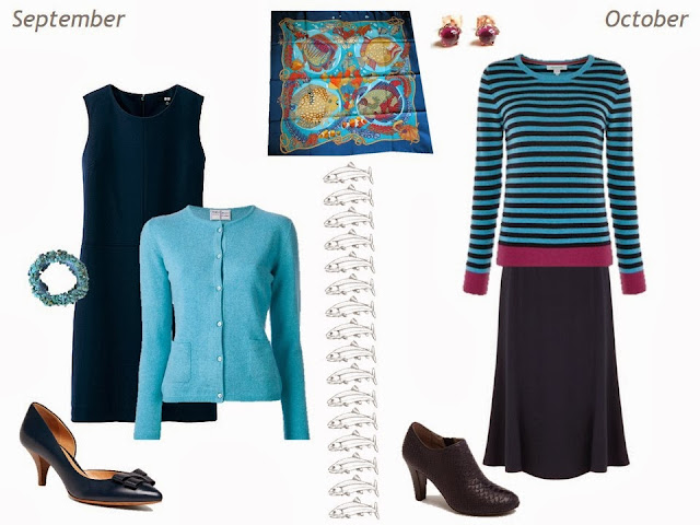 September and October outfits in navy and turquoise, based on Hermes Grands Fonds silk scarf