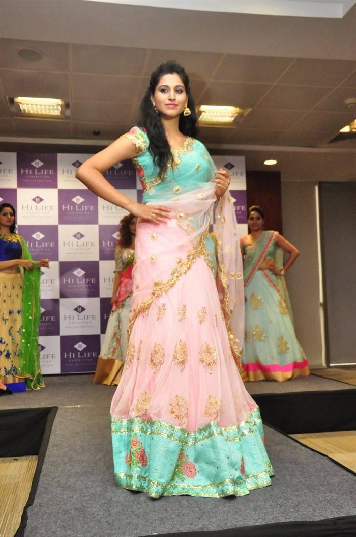 Model Shamili In Traditional Pink Half Saree At Exhibition