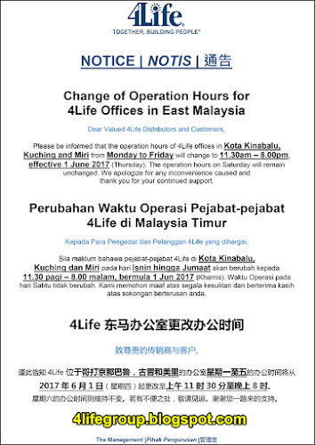 foto Change of Operation Hours for 4Life Offices in East Malaysia
