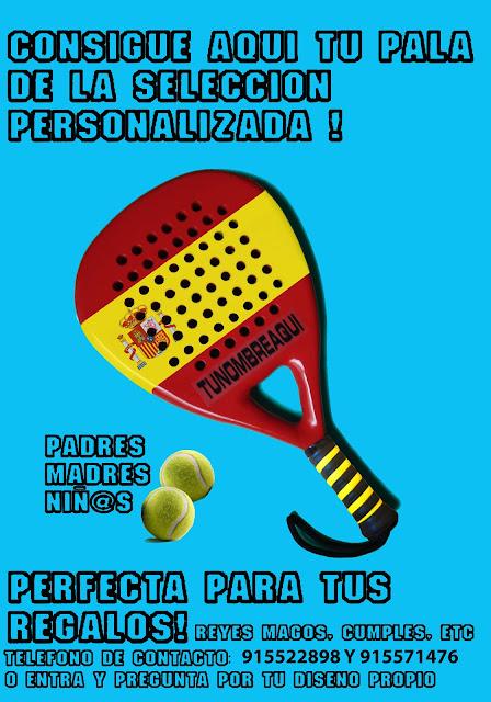 Consigue tu pala de Pádel con los colores de España y personalizada con tu nombre.