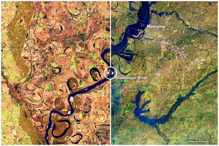Prime inondazioni lungo il Mississippi, fotografie satellitari NASA a confronto.