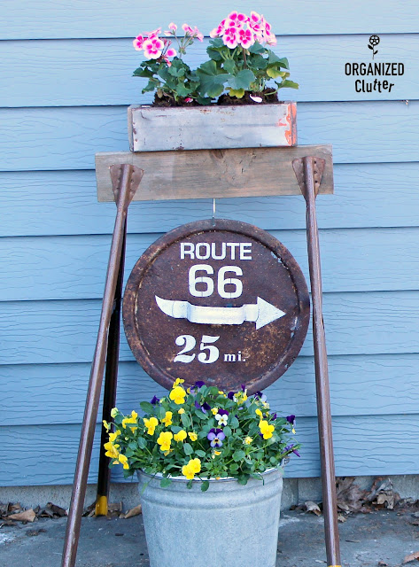 Rusty Lid Sign and Rustic Planter