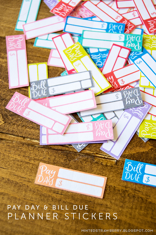 FREE PRINTABLE Bill Due and Pay Day Planner Stickers - Minted