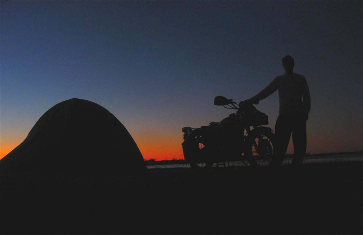motorcycle and tent, camping at night, motorcycle ride