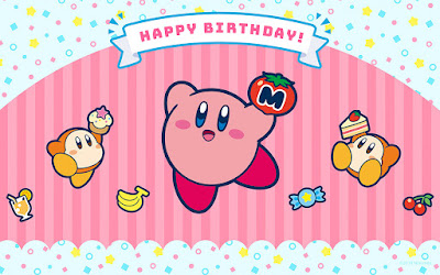 Kirby Happy Birthday desktop wallpaper cake Waddle Dee