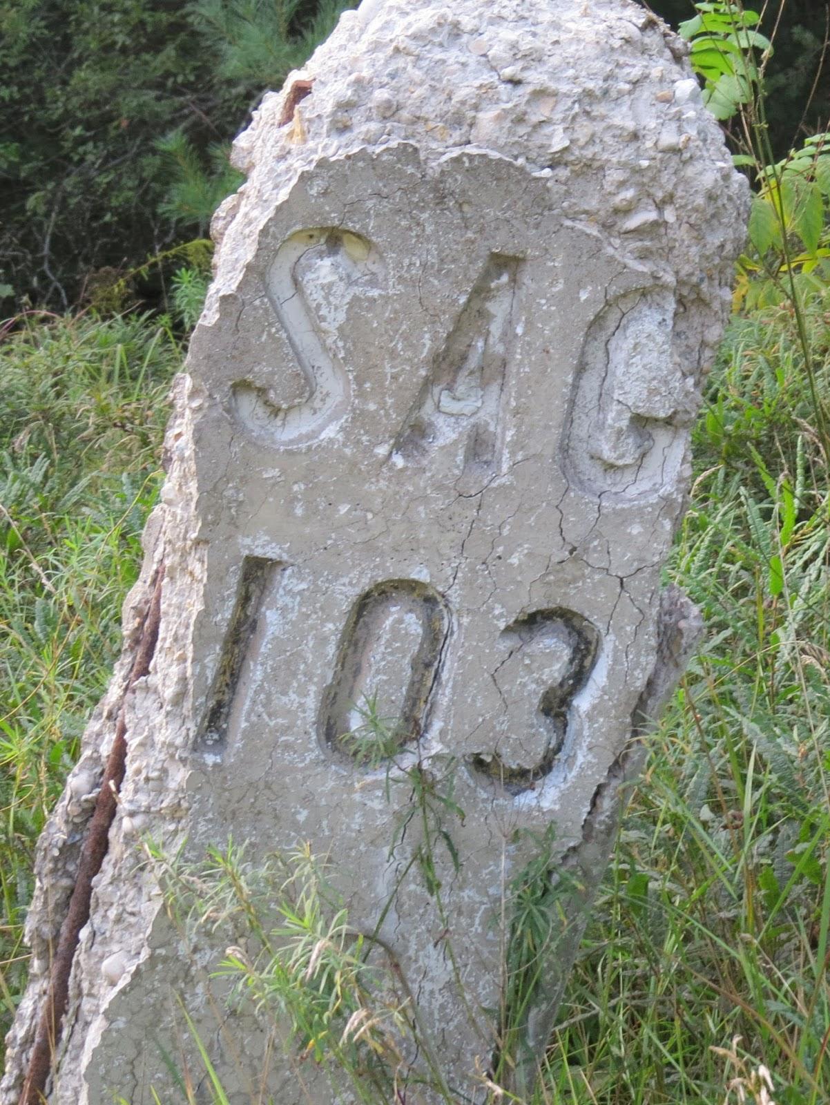 Pere Marquette Rail mile marker
