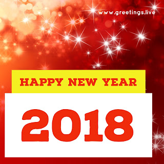 Red yellow star shine Sparkling New Year2018