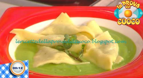 Ravioli filanti con crema di piselli ricetta Francesca Marsetti