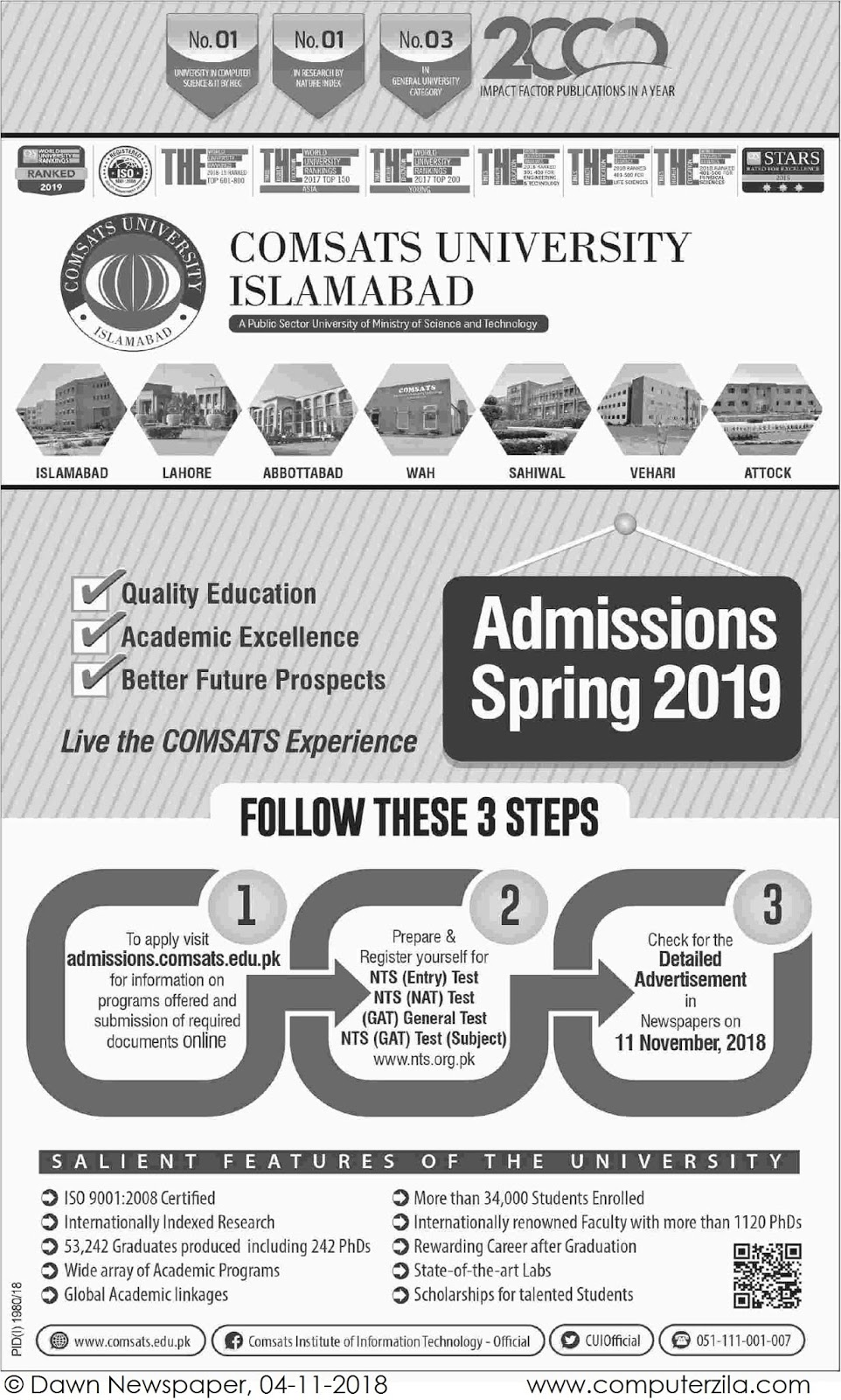 Admissions Open For Spring 2019 At CUI Islamabad Campus