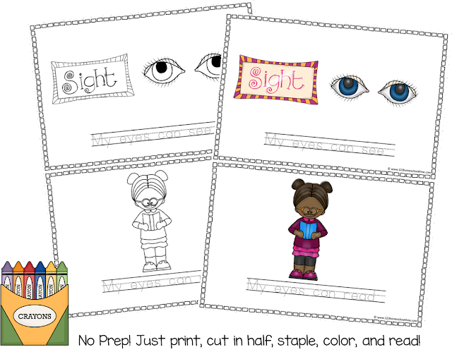 No prep 5 senses worksheets for kids
