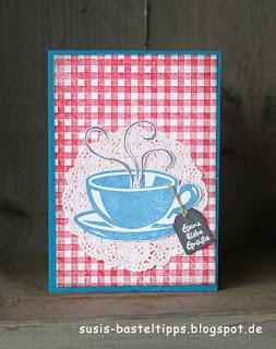 Teetassen Karte mit Stampin Up, Spitzendeckchen und Karodecke