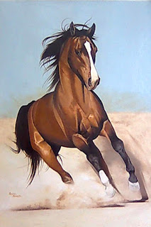 single-brown-horse-running