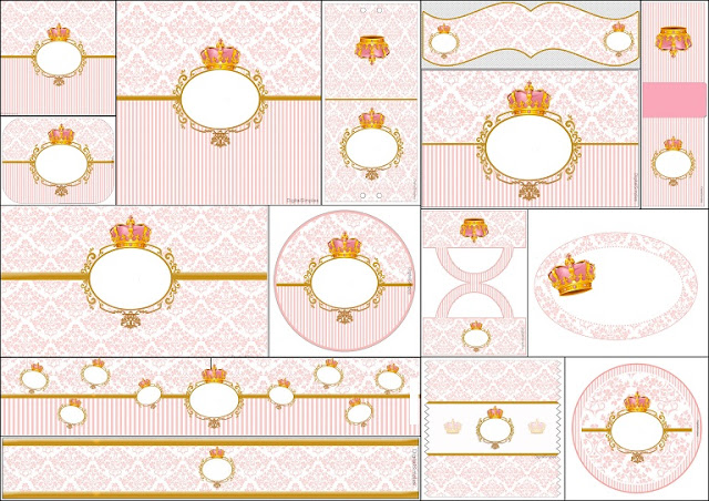 Golden Crown In Pink Free Printable Candy Bar Labels