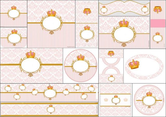Amado Corona Dorada en Fondo Rosa: Etiquetas para Candy Bar para  JL37