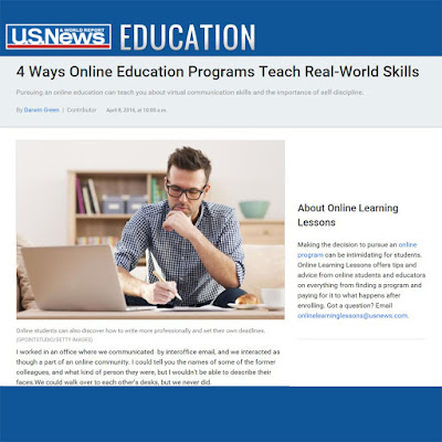 "U.S. News & World Report Education Banner with ""4 Ways Online Education Programs Teach Real-World Skills"" headline and the first paragraph of the article"