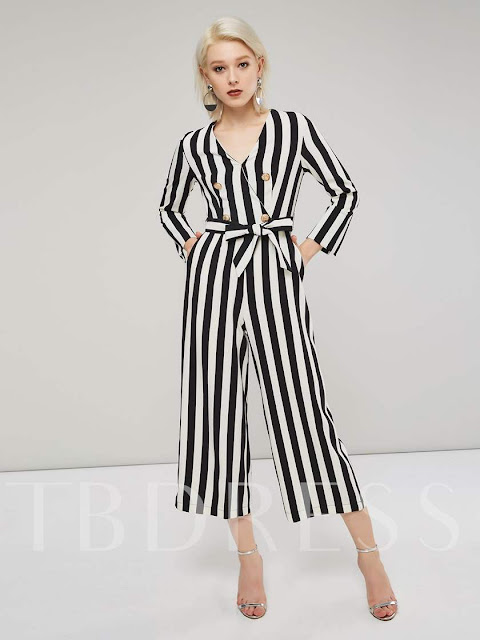 Stripe Color Block Double Breasted Lace-Up Women's Jumpsuit