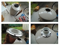 Modifying a water tank for chicken feed