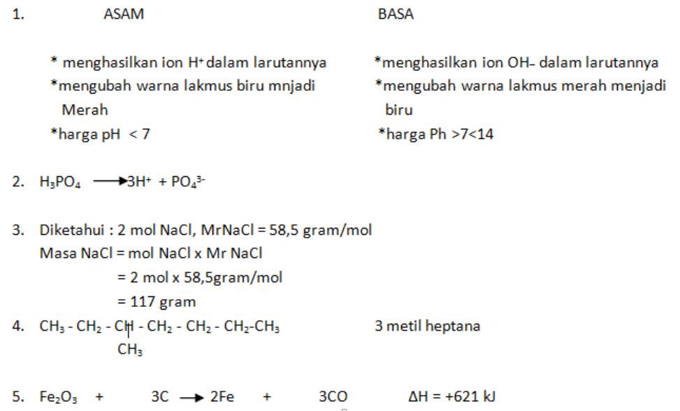Soal Latihan Usbn Kimia Smk Sma Beserta Jawabannya Lengkap Terbaru