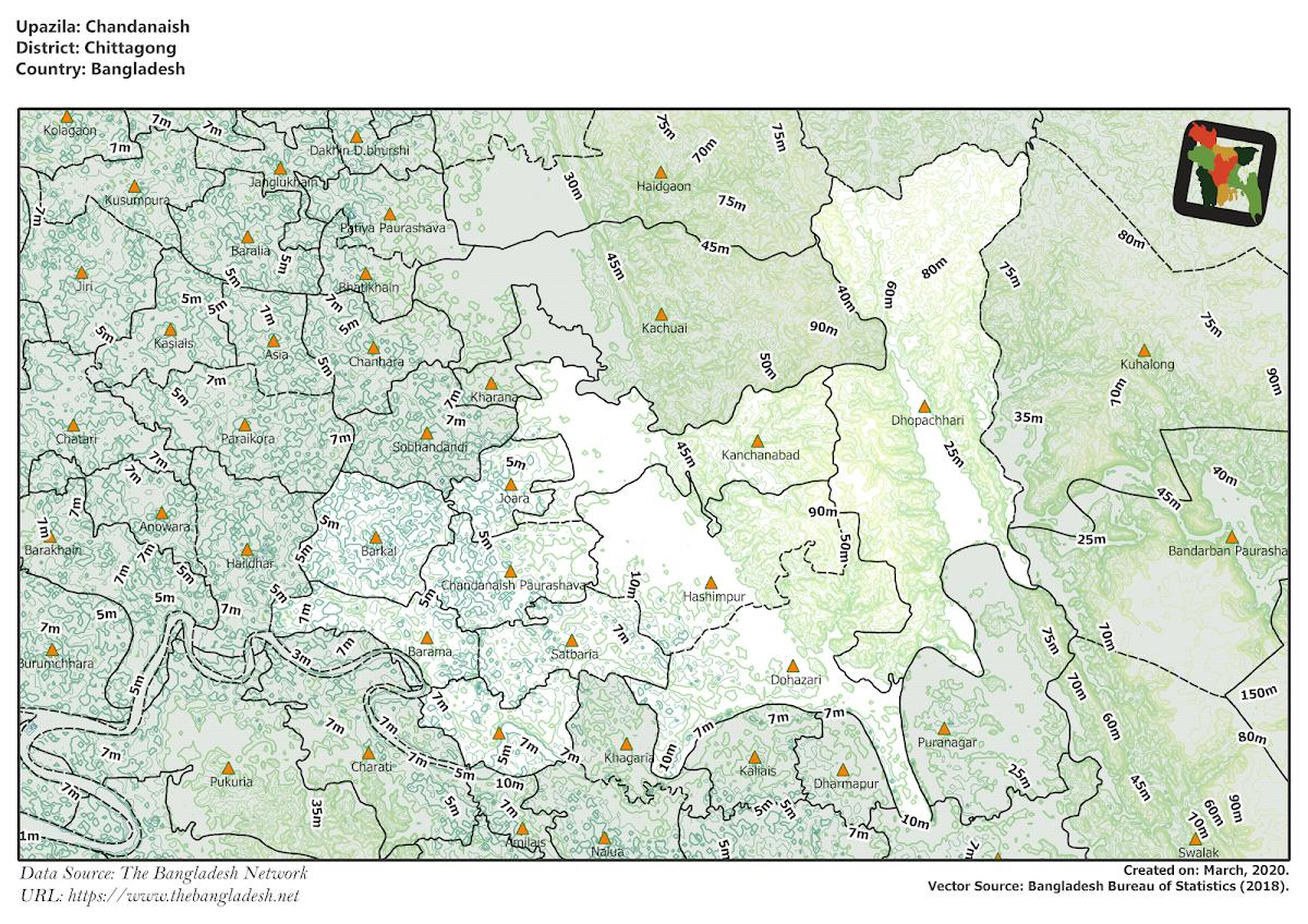 Chandanaish Upazila Elevation Map Chittagong District Bangladesh