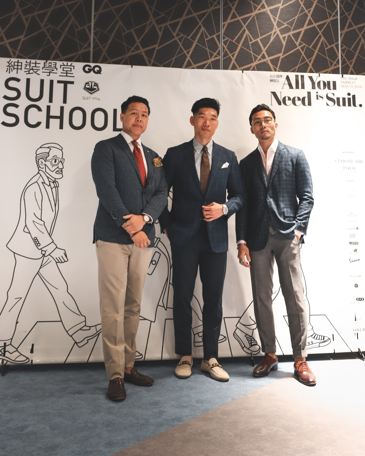 Leo Chan teaching GQ Taiwan Suit Walk Class with Lex Mr. Gumbatron, Kevin Wang