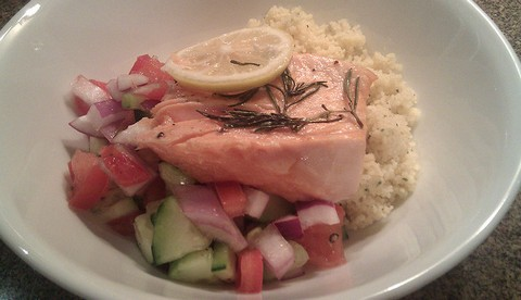 Lemon Rosemary Salmon with Tomato Cucumber Salad