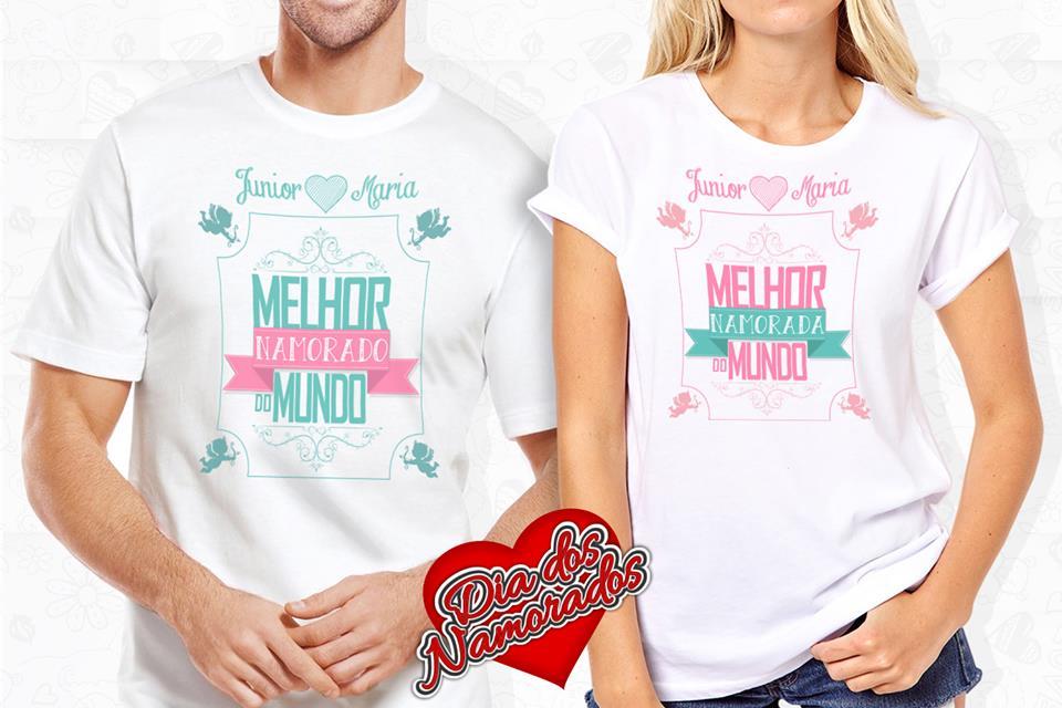 980d286006 Camiseta Dia dos Namorados Melhor Namorado do Mundo eMelhor Namorada do  Mundo