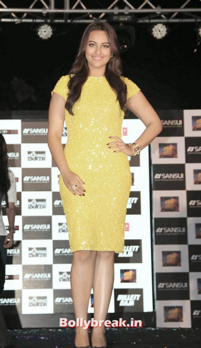 Sonakshi Sinha in yellow dress at bullet raja press meet, Sonakshi Sinha sizzles at Bullett Raja Press Meet
