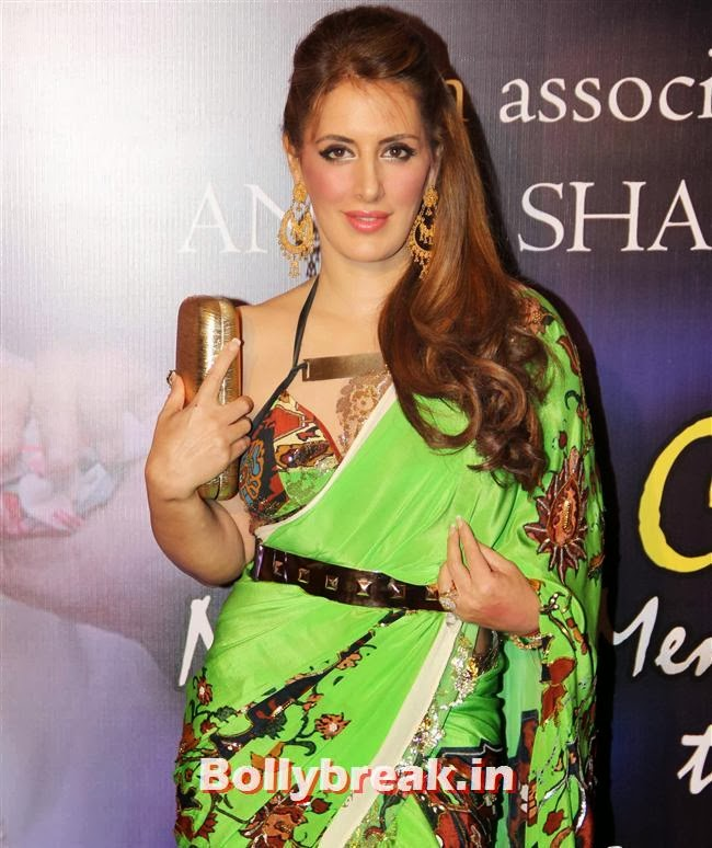 Hot Pria Kataria Puri in Green Saree, Bollywood Beauties at Yash Chopra Memorial Awards