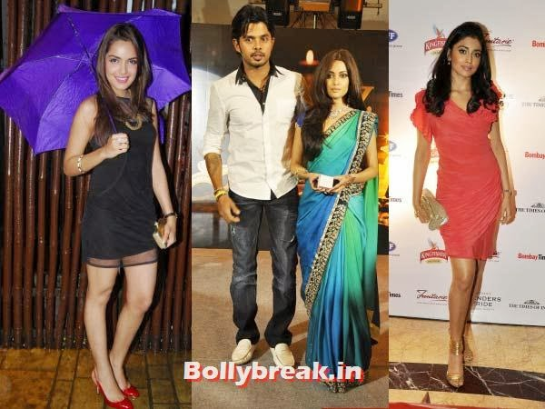Sreesanth and Riya Sen, Shriya Saran and Shazahn Padamsee:   The bowler with two right dancing feet has apparently spotted with all  the three ladies, on different occasions of course. Hope he gets off on  the right foot with at least one. Rating: Hat trick!