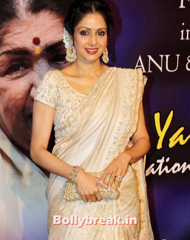 Sridevi in white Saree, Bollywood Beauties at Yash Chopra Memorial Awards