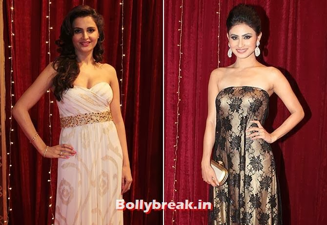 Monica Bedi and Mouni Roy on Indian Tele Awards 2013 Red carpet, Indian Tele Awards 2013 red Carpet Pictures - ITA - Lauren Gottlieb, Mouni Roy, Ratan Rajput