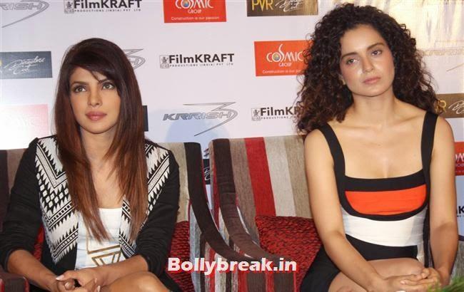 Priyanka Chopra and Kangana Ranaut, Priyanka & Kangana at Krrish 3 Press Conference