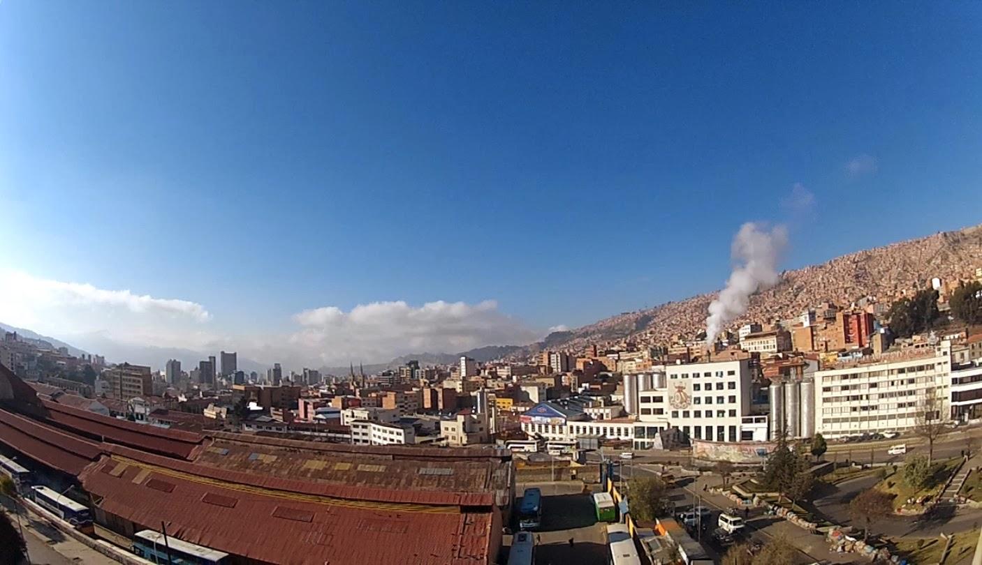 Vista do quarto do hotel em La Paz.