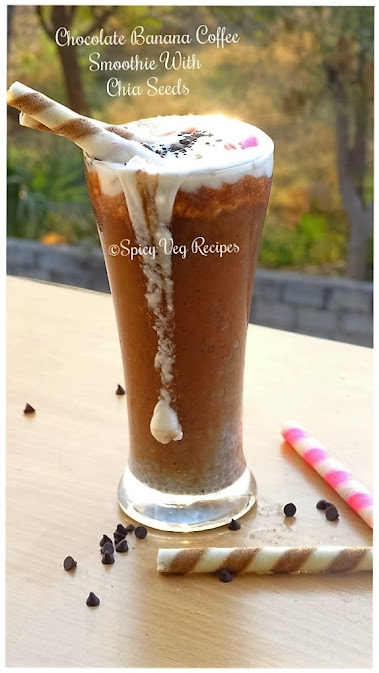Chocolate-Banana-Coffee- Smoothie- chia -veg-Recipe