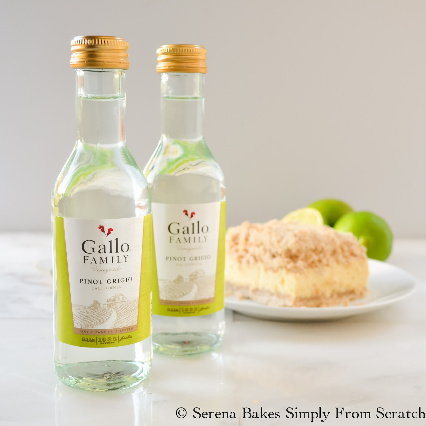 Key Lime Cheesecake Crumb Bars with Gallo Family Wines www.serenabakessimplyfromscratch.com