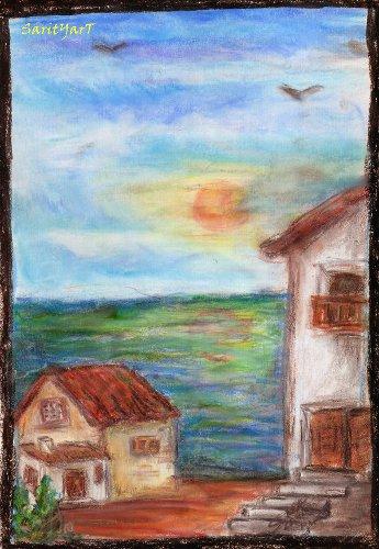 cerca del mar pintado con ceras