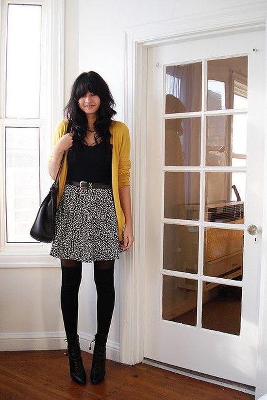 Bold outfit with yellow cardigan and animal print skirt for Deep Winter women