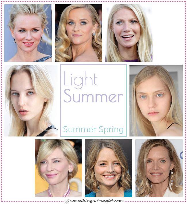 Light Summer, Summer-Spring seasonal color celebrities by 30somethingurbangirl.com