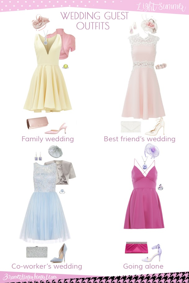 Wedding guest outfit ideas for Light Summer women by 30somethingurbangirl.com // Are you invited to a family, your best friend's or your co-worker's wedding, maybe going solo to a nuptials? Find pretty outfit ideas and look fabulous!