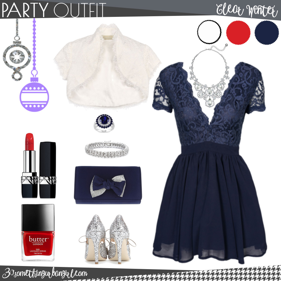 Pretty holiday party outfit for Clear Winter seasonal color women