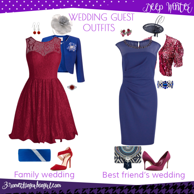 Wedding guest outfit ideas for Deep Winter women by 30somethingurbangirl.com // Are you invited to a family or your best friend's wedding? Find pretty outfit ideas and look fabulous!