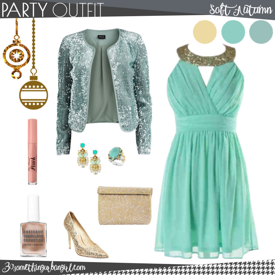 Pretty holiday party outfit for Soft Autumn seasonal color women
