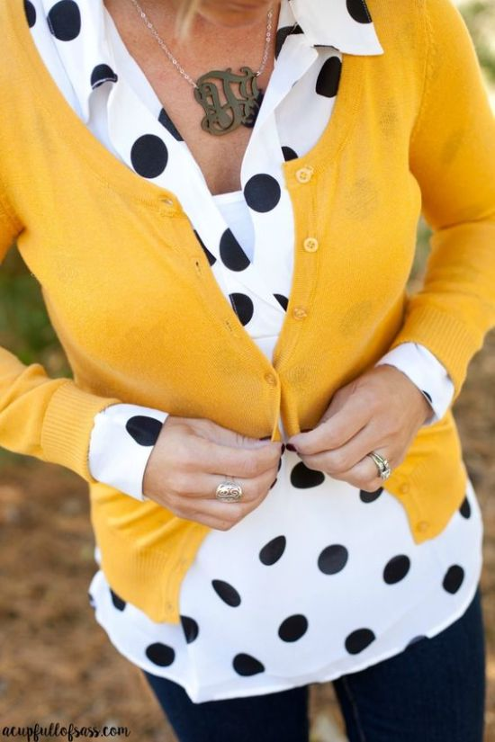 Chic look with yellow cardigan, polka dot blouse and jeans for Clear Winter women