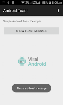 Simple Android Toast Example