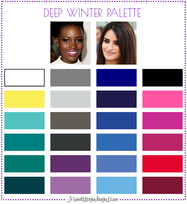 Best colors for Deep Winter seasonal color women; Deep Winter color palette