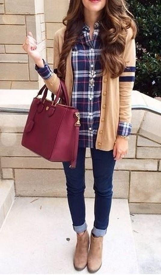 Casual outfit idea with camel cardigan, checked shirt and jeans for Warm Spring women