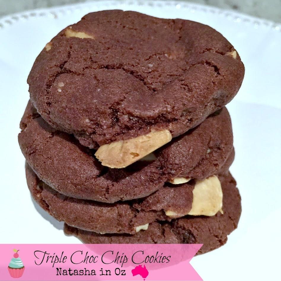 Triple Chocolate Cookies via www.natashainoz.com