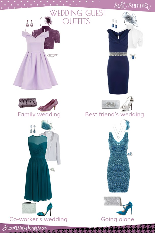 Wedding guest outfit ideas for Soft Summer women by 30somethingurbangirl.com // Are you invited to a family, your best friend's or your co-worker's wedding, maybe going solo to a nuptials? Find pretty outfit ideas and look fabulous!